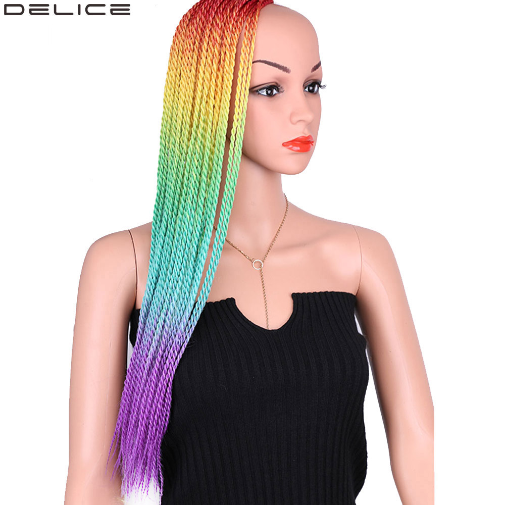 Delice 22 Ombre Rainbow Senegalese Twist Crochet Braids Long Hair Extensions Synthetic Braiding Box 30 Roots/pc