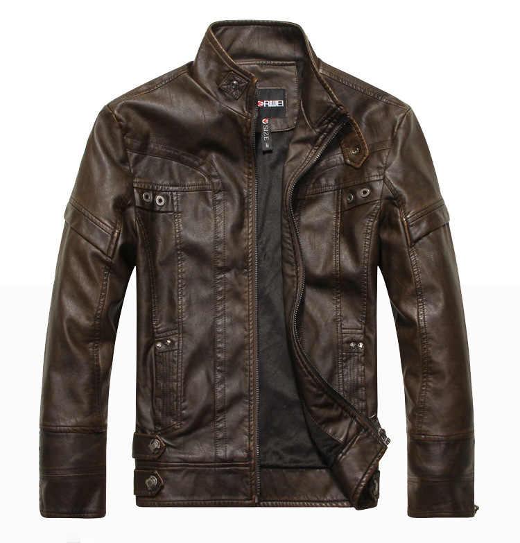 Осень Moto Винтаж Для мужчин S куртки пальто мотоцикла PU мужской кожаный жакет Для мужчин Повседневное Стенд воротник Slim Fit lether коричневый