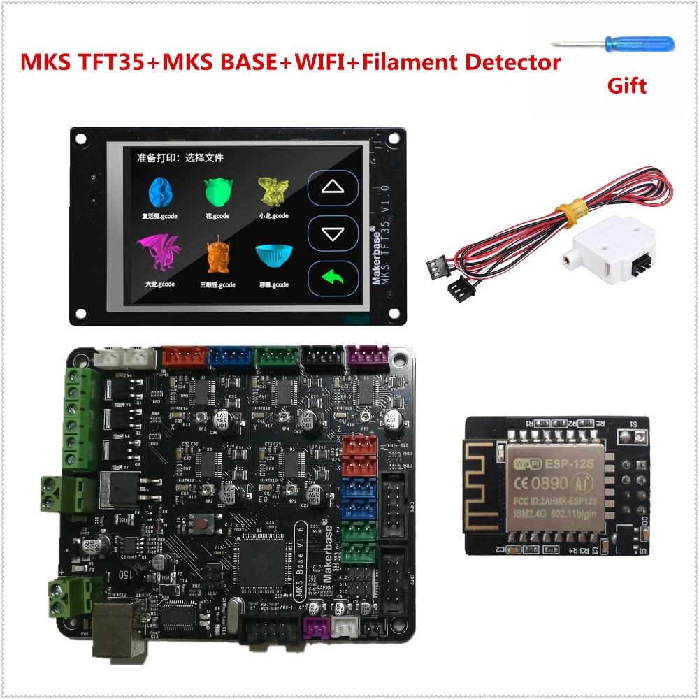 RepRap3d imprimante l'apprenant kit carte mère MKS BASE V1.6 + DÉPUTÉS TFT35 écran tactile + module WIFI + filament détecter capteur