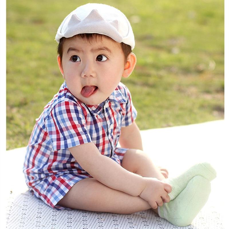 Baby Boy Short Sleeved Shirt Collar Plaid Rromper Baby Girl Summer Clothe 4th of July Baby Boy Romper 1st Birthday Baby Onesie