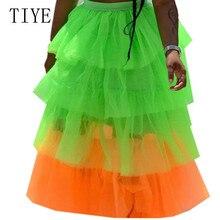 TIYE Fashion Multi-color See Through Mesh Cake Skirt Women Casual Go Out Pleated Skirt Elegant Ladies Party Club Summer Skirt see through stripe mesh skirt