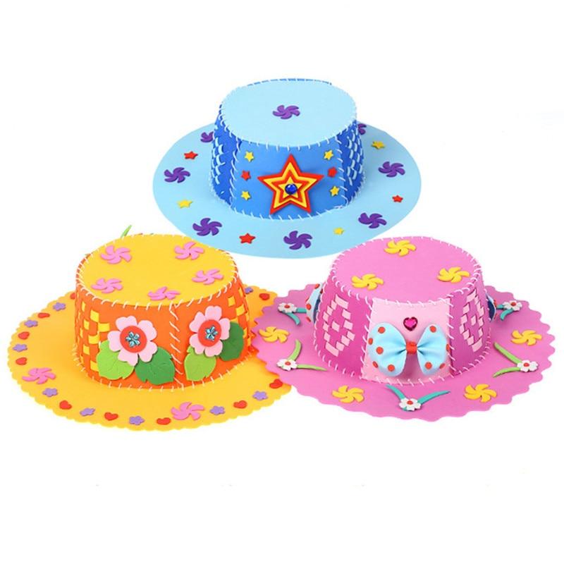 New Children DIY Art Craft Kits Educational Early Practice 3D Puzzle DIY Hat Toy Kid Birthday Gift 1 Pc Flower Handmade EVA Toy
