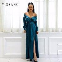 Yissang 2018 Latest Long Sleeve Satin Dress V neck Dress Party High Split With Belt Women Long Sexy Clubwear Elegant Vestidos