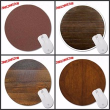 Custom Brown Wood Top Selling Computer Gaming Round Mouse Pad Gamer Play Mats Customization Supported Decorate Desk 200*200*2CM