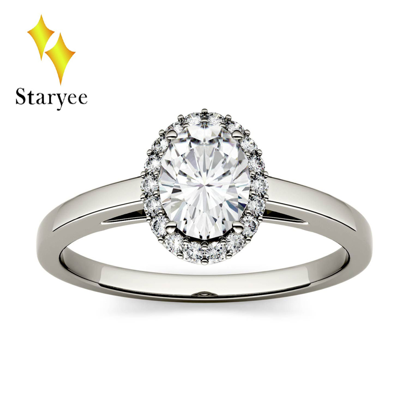 Genuine 18K 750 White Gold Moissanite Ring 1.5Carat Test Positive Oval Cut Moissanite Lab Diamond Ring For Women Fine Jewelry