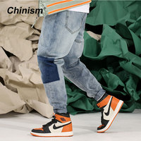 CHINISM 2018 Spring Mens Acid Washed Denim Jeans Loose Casual Pencil Pants Blue Jeans