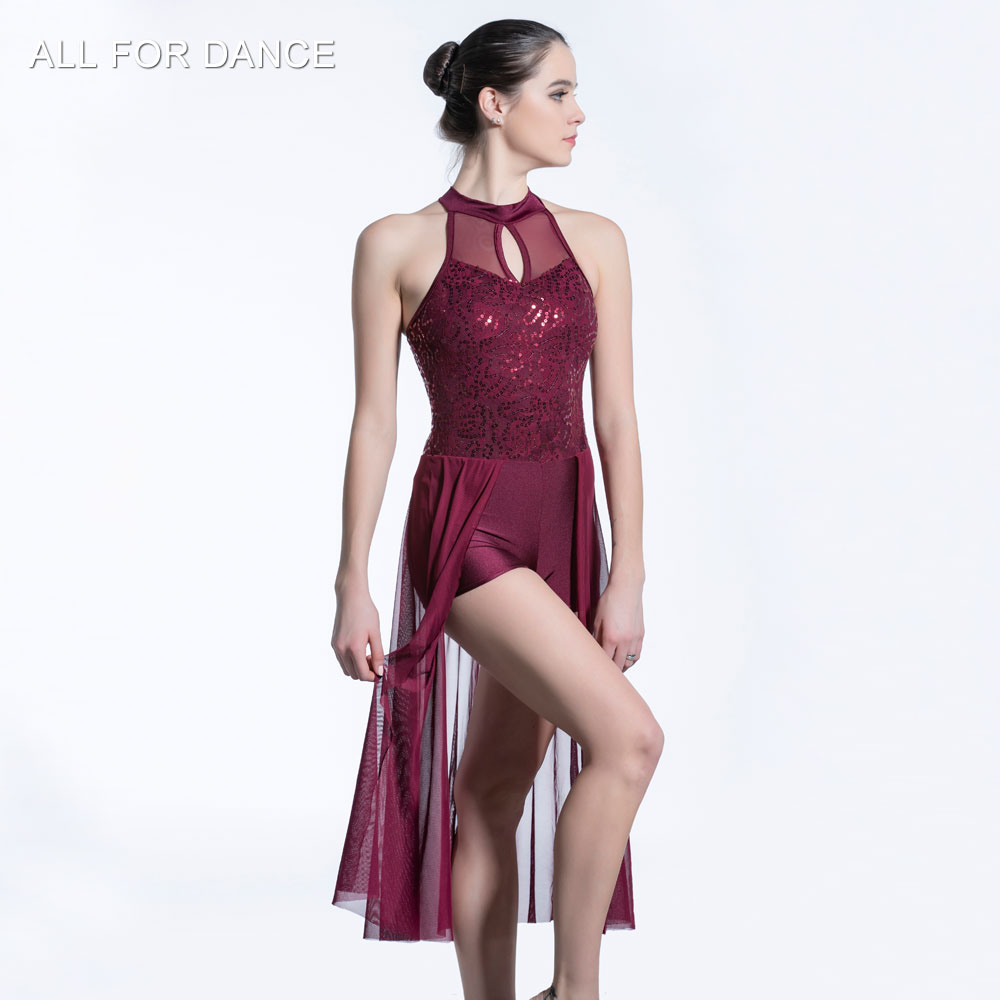 Burgundy Sequin Lace Bodice with mesh skirt ballet dress Girl & Women stage performance ballet costumes lyrical & contemporay image