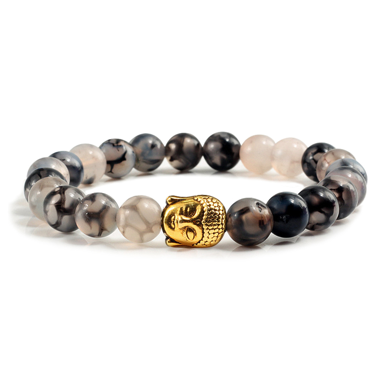Classic 8mm Black Lava Matte Beaded Bracelets Charm Gold Buddha Head Men Natural Stone Bracelet Women Yoga Prayer Couple Jewelry