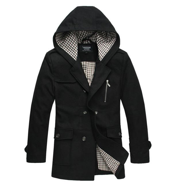 Lesmart hombres gabardina larga de lana de poliéster de moda casual de negocios sólido doble de pecho larga delgada da vuelta-abajo bolsillos