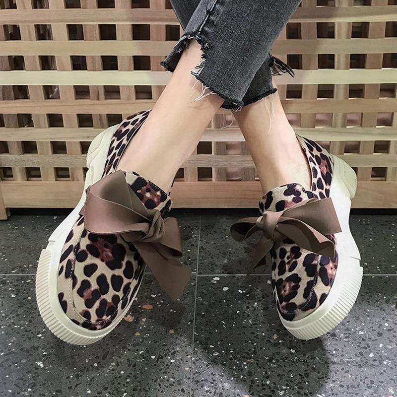 2019 Nuevas Cuero Pisos Cómodos Suave Slip Casual Las Mocasines Leopardo Mujeres De Mujer Moda Zapatos On r1wrT4