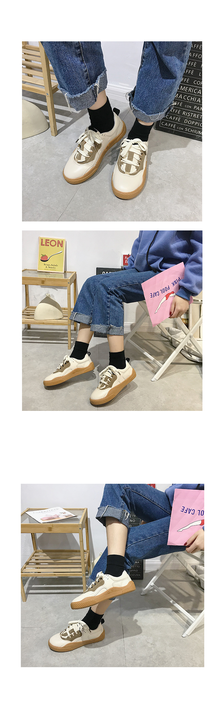 2019 Women Sneakers Leather Hook Loop All Match Female Casual Shoes Concise Style Lady White Shoes Students New Fashion 35-39 26