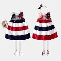 Vendita calda Ins Vestito A Strisce Con L'arco Ragazze Vestiti 2017 Stile di estate Bambini Vestiti Da Partito Vestito Infantile Del Fiore Senza Maniche Rosso Navy