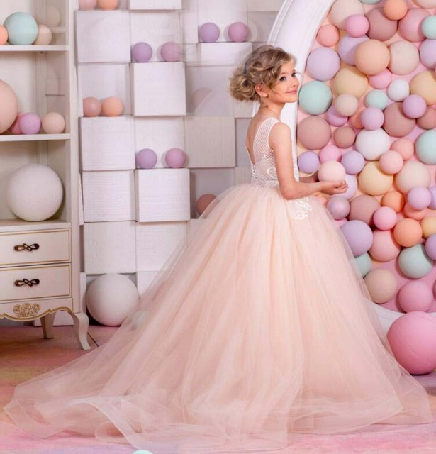 c8d0a1b8b87 Stunning blush pink soft tulle flower girl dresses with long train Holiday  Bridesmaid Wedding Party Birthday princess lace gowns