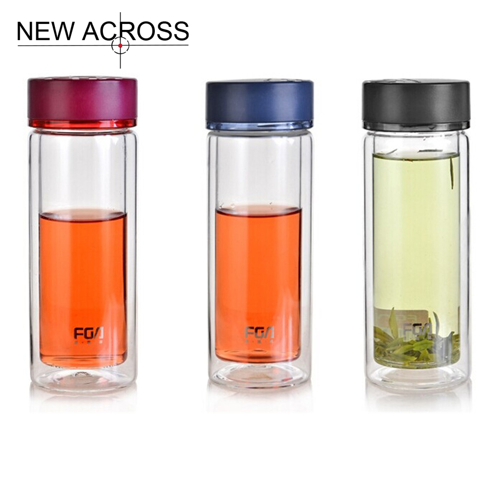 JUH QT 1Pcs 280ml Double-Layer Glass Transparent Tea Cup Lid Portable Insulation Leak Proof Water Bottle Customized In Bulk