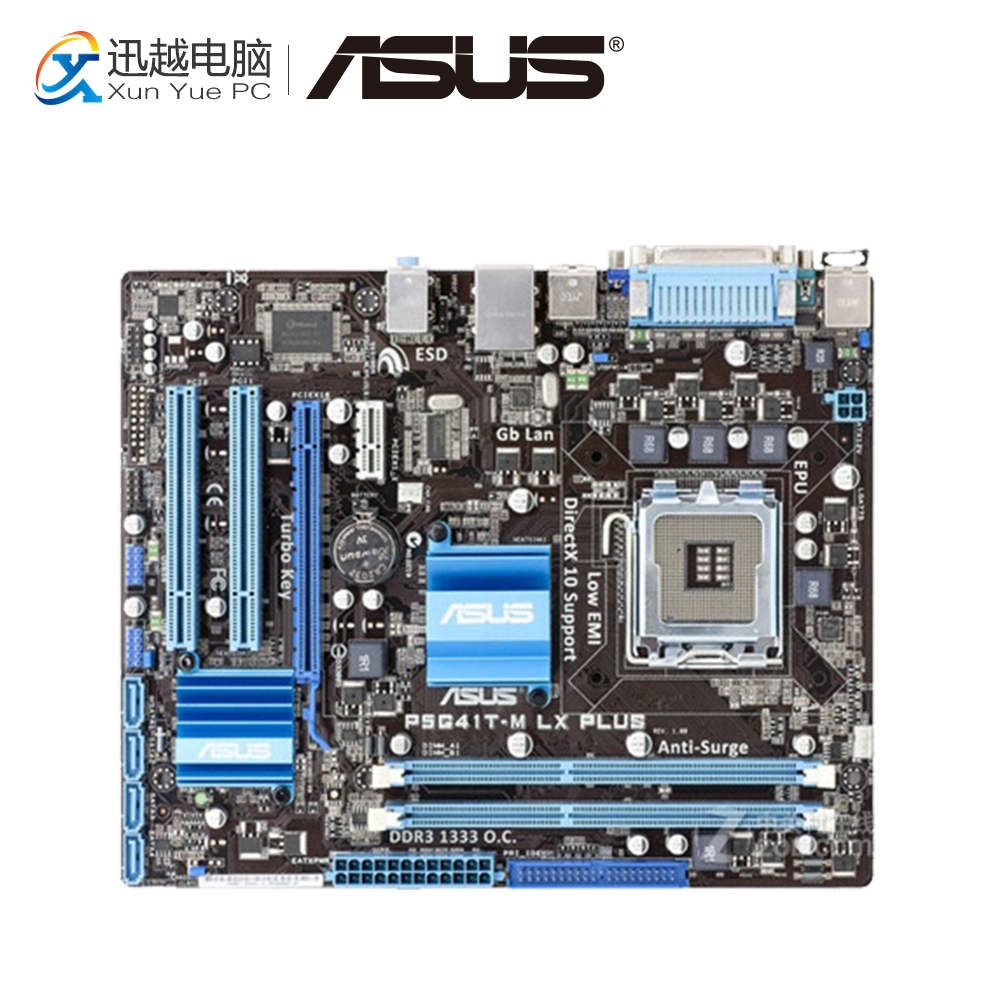 Asus P5G41T-M LX PLUS Desktop Motherboard G41 Socket LGA 775 DDR3 8G SATA2 USB2.0 uATX used for asus p5g41t m lx v2 original desktop motherboard g41 socket lga 775 ddr3 8g sata2 usb2 0