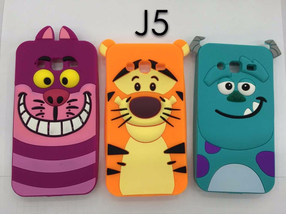 3D Cartoon Sulley Tiger Cat Soft Silicone Back Cover Case Samsung Galaxy J5 J500 J500F - Orange Mobile store