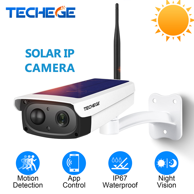 Techege 1080 p HD Caméras de Surveillance Étanche Sécurité Extérieure Solaire Charge de La Batterie Caméra WIFI Caméras Audio PIR Motion
