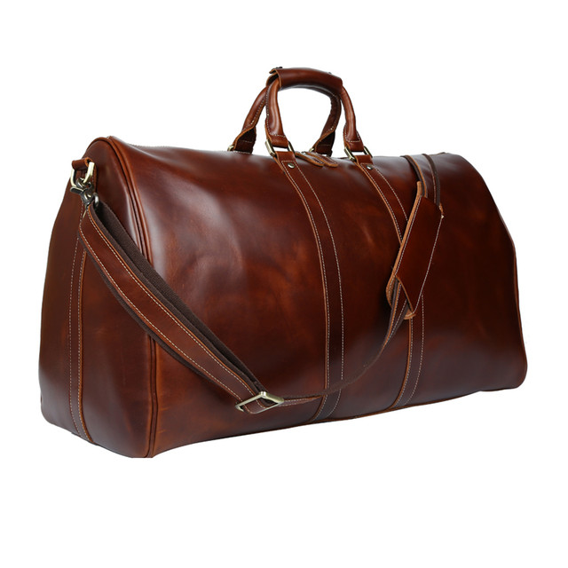 920cffb8c61e Baigio Men Travel Bag Leather Bag Vintage Brown Designer Travel Overnight  Tote Large Capacity Luggage Bag Shoulder Travel Bag
