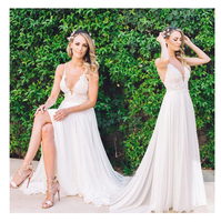 LORIE Beach Wedding Dresses Spaghetti Straps 2019 Robe de soiree Vintage Lace Top Elegant Sexy Boho Chiffon Long Bridal Dress