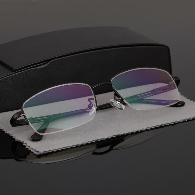 Hombre primavera gafas de pierna exceda de asuntos de negocios light titanium de la aleación de gafas de marco de medio partido de alta claro lente de resina 1287