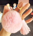 Leather Tassel Keychain Rabbit Fur Ball Key chain fluffy keychain fur pompom llaveros portachiavi porte clef fur ball key chain