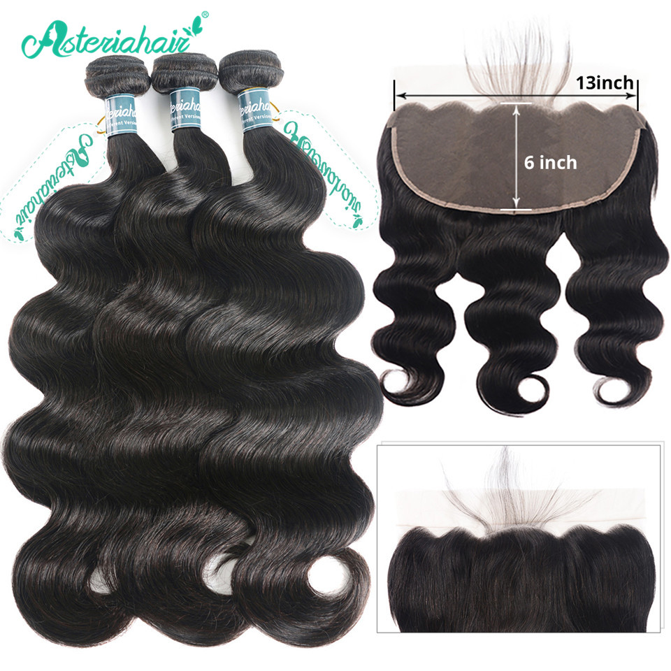 Alipearl Hair Pre Plucked 360 Lace Frontal Closure With Bundles Human Hair 3 Bundles Peruvian Body Wave Remy Hair Extensions 3/4 Bundles With Closure