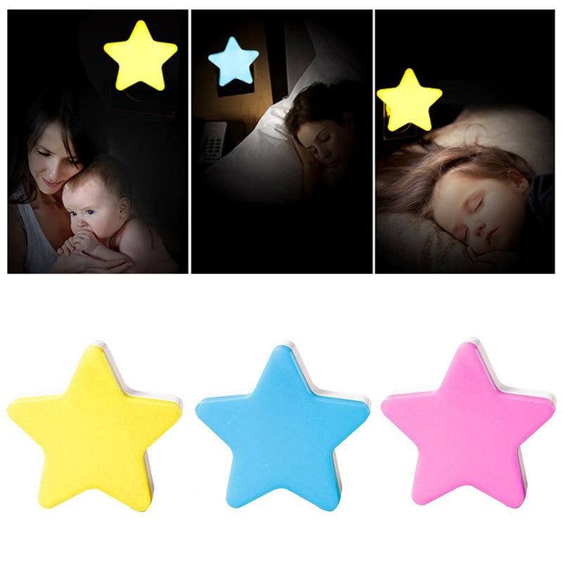 Mini Star LED Night Light For Dark Night Children Bedroom Bedside Lamp With EU/US Plug Baby Sleeping Light Cartoon Cute Lights