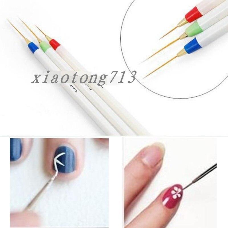 3 unids/lote profesional Kolinsky acrílico uñas arte Liner dibujo pincel plástico pinceles para uñas herramienta de tallado