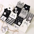 Black White Harajuku Cat Socks Cotton Socks Women Warm Lovely Middle Tube Socks 36-39