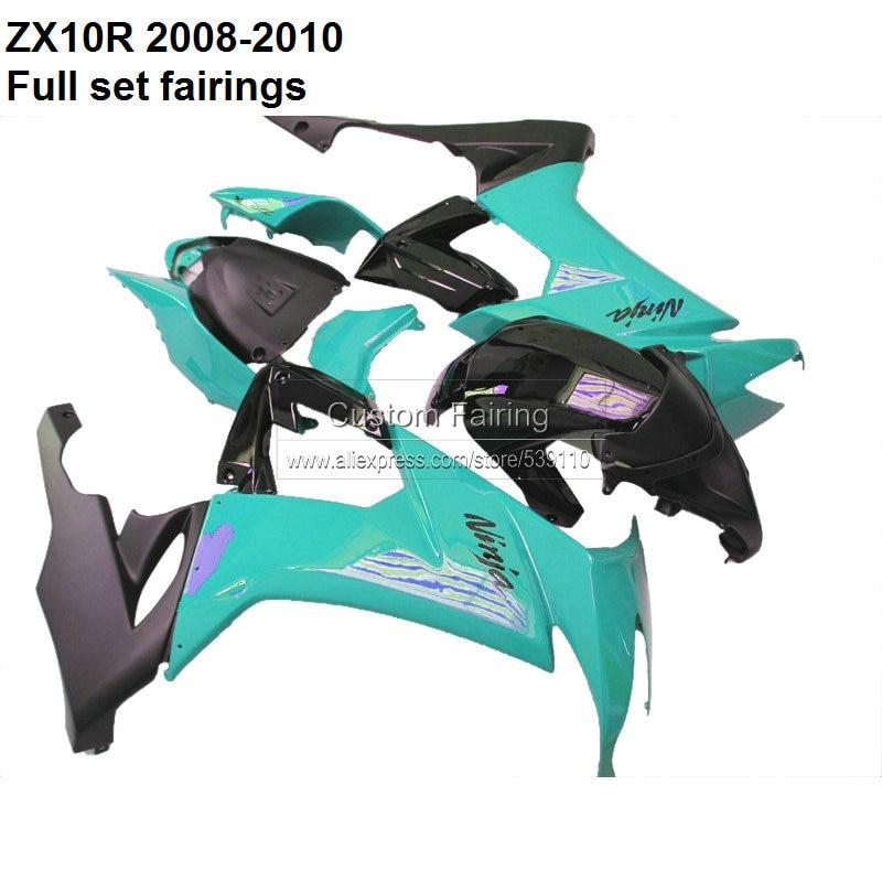 Мотоцикл обтекатель комплекты для Kawasaki ниндзя ZX10R 08 09 10 синий и черный обтекатель комплект бесплатная пользовательские обтекатели за № 040