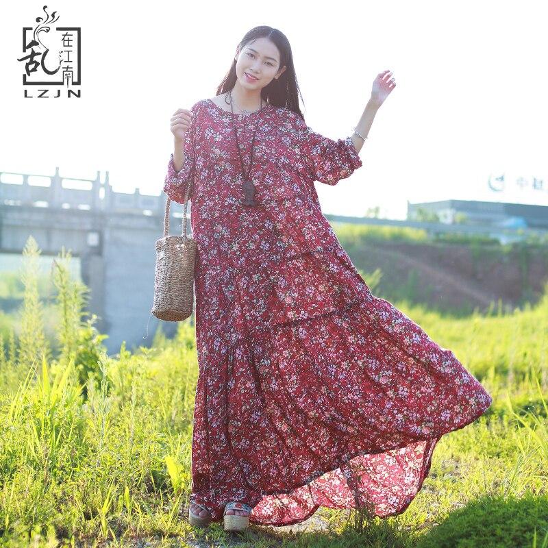LZJN manches longues plage Boho Robe 2019 été automne Floral Maxi Robe femmes coton lin chemise Robe ethnique Robe Femme Kleid