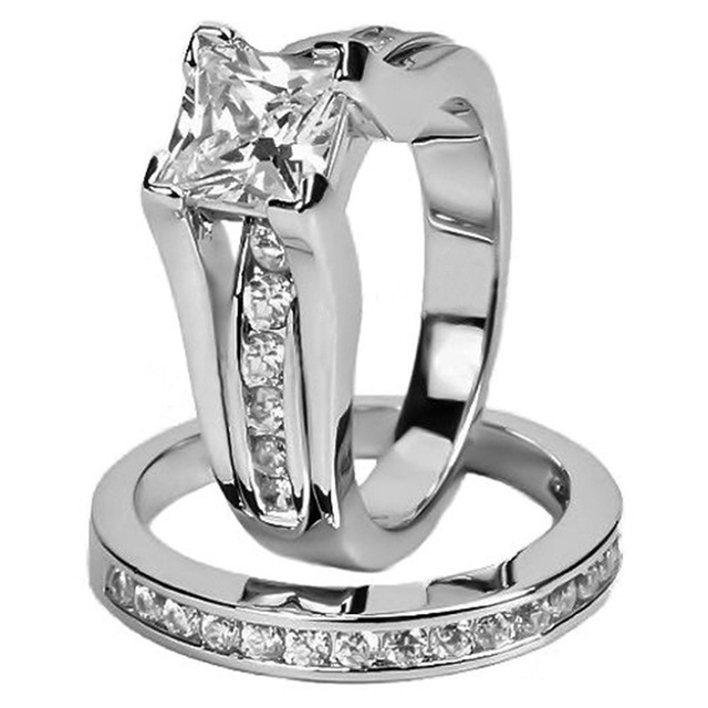 Fashion Women S 2 1 Carat Stainless Steel Princess Cut Aaa Cz