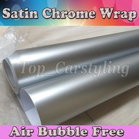 silver satin matte chrome Vinyl Wrap Car Wrapping Film For Car COVERING FOIL styling With Air Free PROTWRAPS 1.52x20m/Roll
