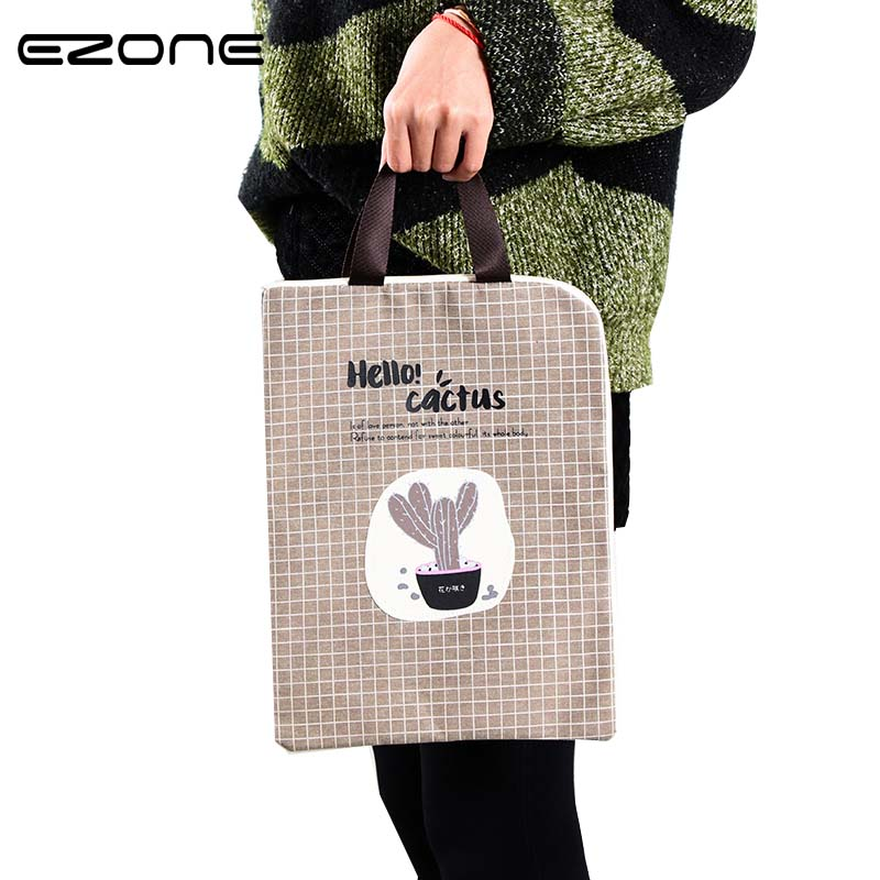 EZONE Document Bag Cactus Folder Bag Cute Kawaii Larger Simple Oxford Cloth Folder For Filing Products Student Office Supplies