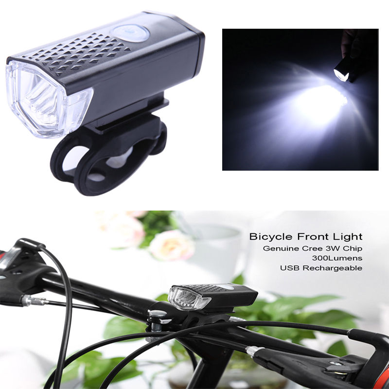 300 Lumen 3 Mode USB Rechargeable Bicycle Front Light LED Lamp Cycling Flashlight 6000K Waterproof Bike Portable Headlight