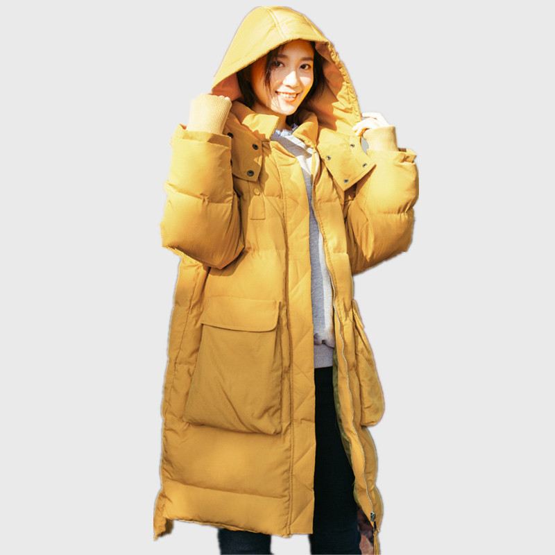 BF Loose Hooded Warm   Parka   Femme Cotton Padded Oversized Yellow Winter Jacket Girls Women Wadded Coat Manteau Femme TT3475