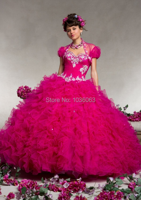ecc2f89ef0f Hot Pink And Blue Sweetheart Chic Beaded And Ruffles Ball Gown Organza  Quinceanera Dress For Girl