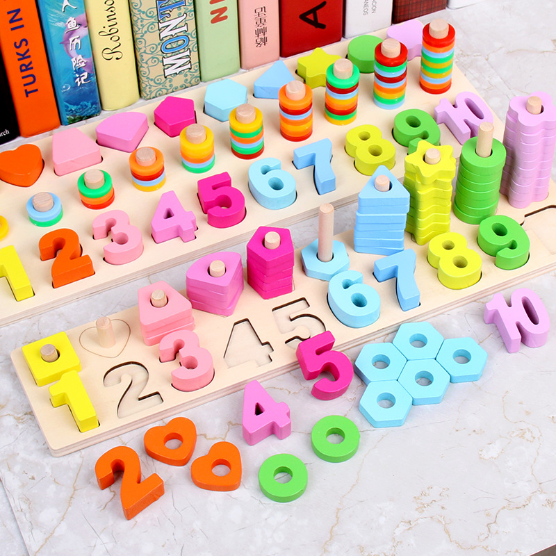New Montessori Math Toys Digital Shape Pairing Learning Educational Preschool Counting Board Kids Wooden Toys For Children Gift