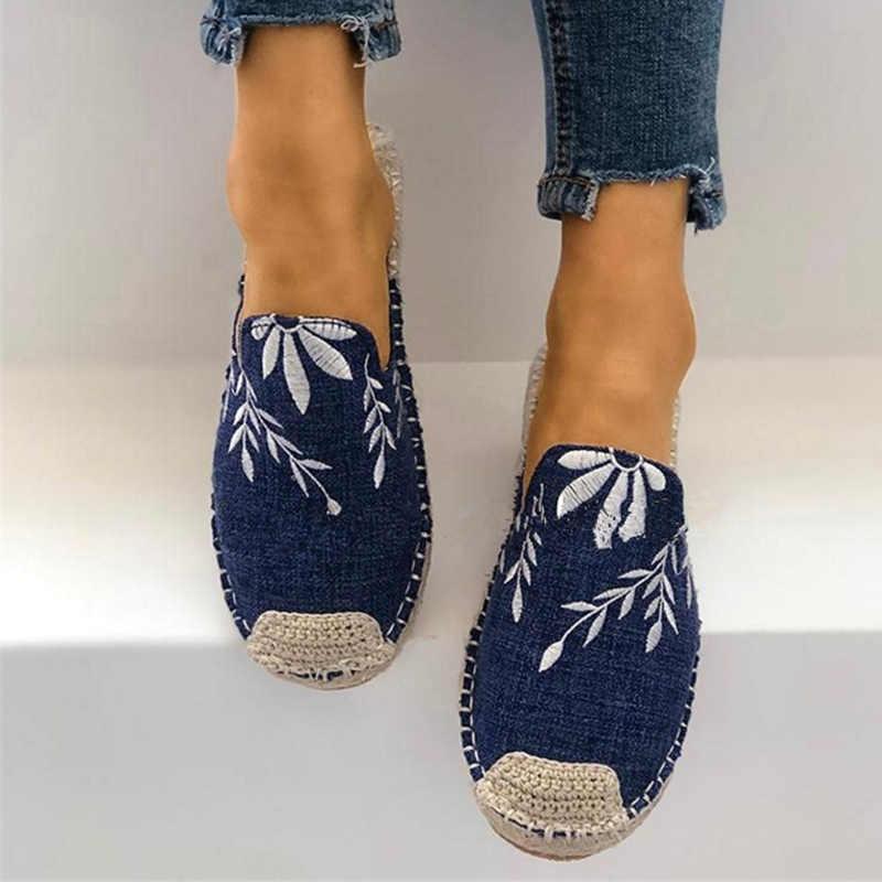 Kadınlar oyalamak kenevir düz terlik rahat kanvas ayakkabılar üzerinde kayma dikiş bayanlar nefes kadın moda ayakkabı konfor ayakkabı