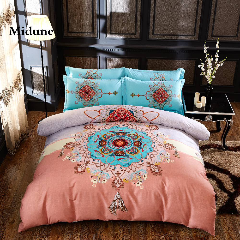 Classical 100%cotton fresh Leaf flowers comfortable soft bedding set duvet cover/sheet/pillowcases king/queen double size