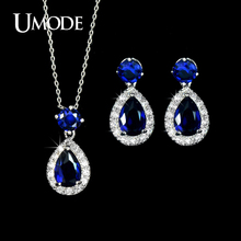 UMODE Hot Selling Jewelry Set Including Blue CZ Water Drop Earrings & Pendant Necklace Set For Women Fashion Jewelry AUS0022A