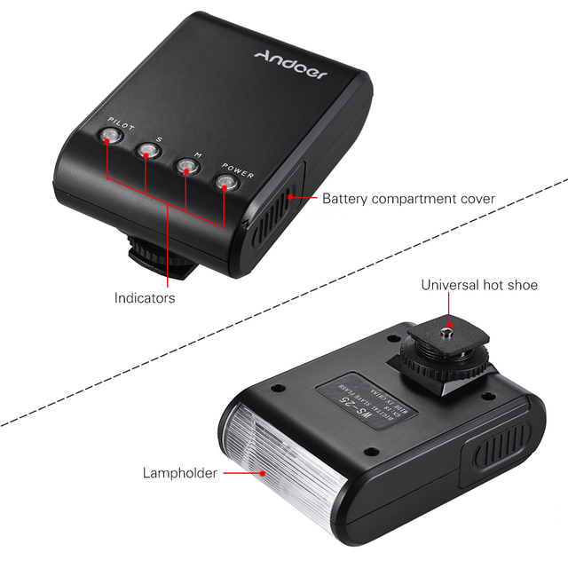 Andoer WS-25 Portable Mini Digital Slave Flash Speedlite  Flash with Universal Hot Shoe GN18 for Canon Nikon Pentax Sony