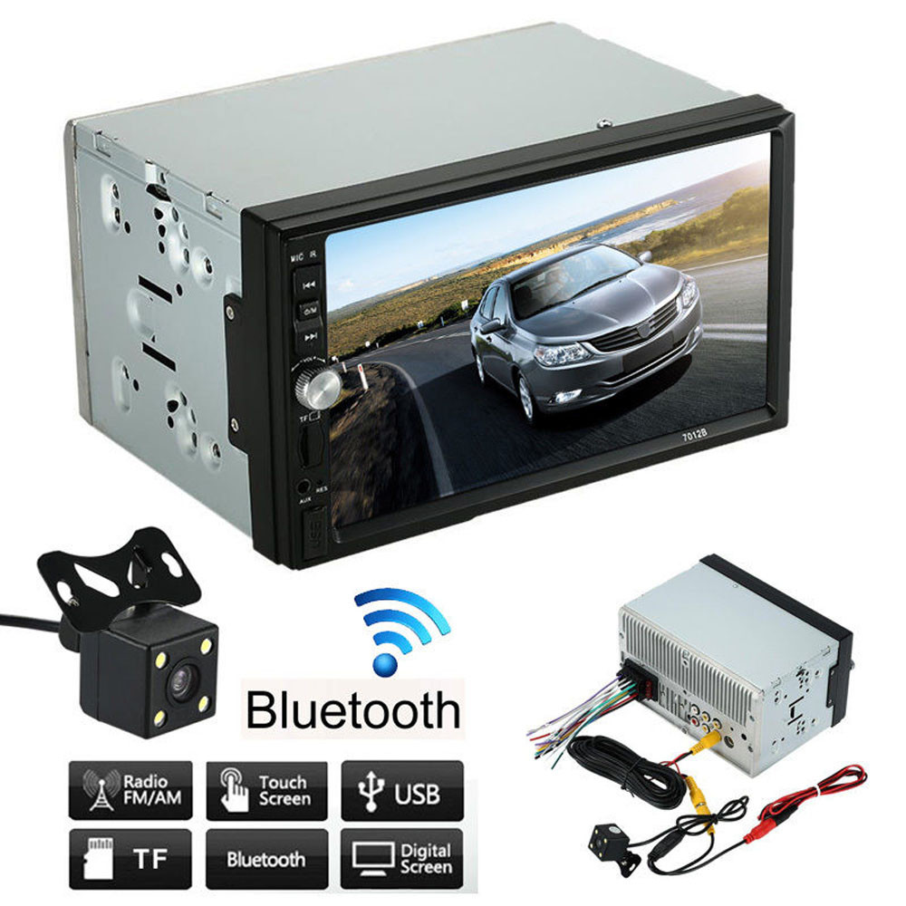 2016 New Hot 7Inch Double 2 Din Car Stereo MP5 MP3 Player Radio Bluetooth USB AUX + Parking Rear View Camera 7 inch 2 din bluetooth auto car stereo mp5 player fm dvr steering wheel control connected with gps reverse rear view camera
