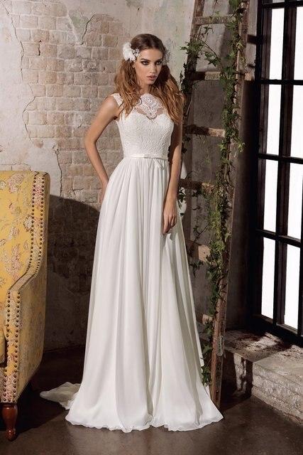 Düz Siluet Dantel ve Şifon Güzel Aşağı Düğmeler Geri Gelinlik Şık slim kemer Gelin Elbise vestido noiva