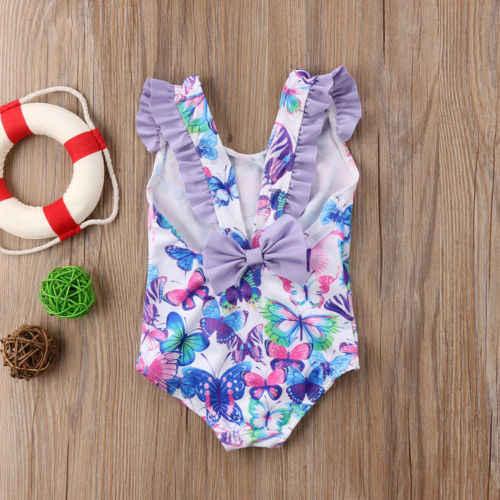Новый Одежда для детей; малышей; девочек с летящими рукавами купальники, купальные костюмы Одна деталь купальник arrival