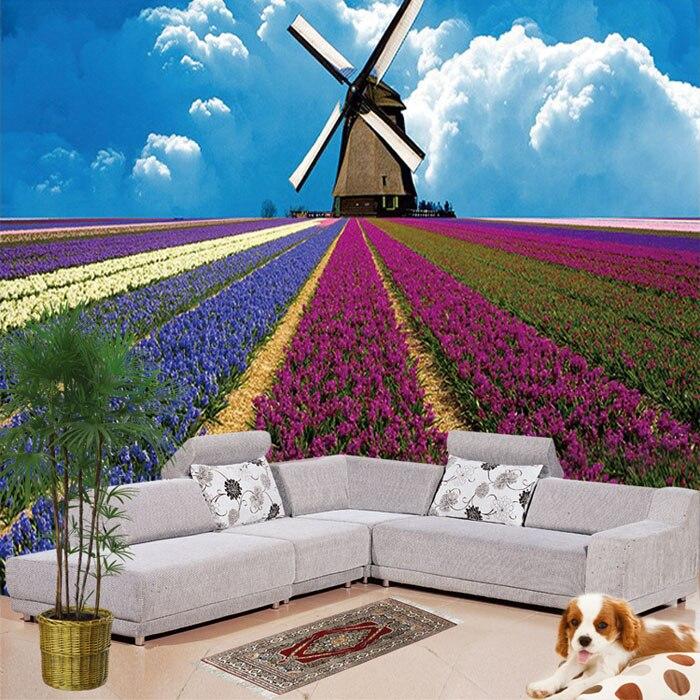 14 42 En Gros 3d Mur Photo Peintures Murales Vinyle Papier Peint Avec Bleu Ciel Moulin à Vent Lavande Pour Fond Salle De Mariage 3d Mural Fresque In
