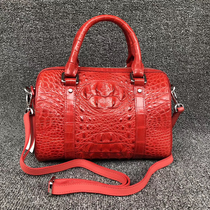Genuine Alligator Skin Zipper Closure Women Red Barrel Purse Handbag Authentic Crocodile Leather Female Small Cross Shoulder Bag