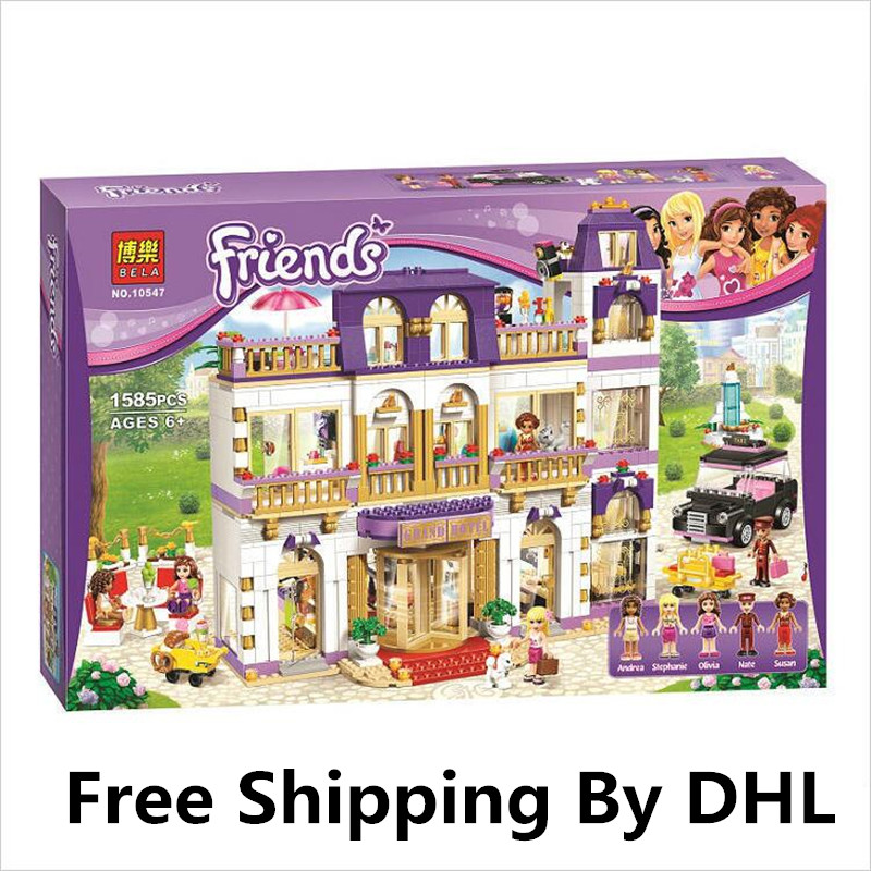 (Lis) BELA 10547 Girl Series Heart Lake City Hotel Girl Friends Building Blocks Figures Bricks Toys Compatible with Lepin 218 lepin 02012 city deepwater exploration vessel 60095 building blocks policeman toys children compatible with lego gift kid sets