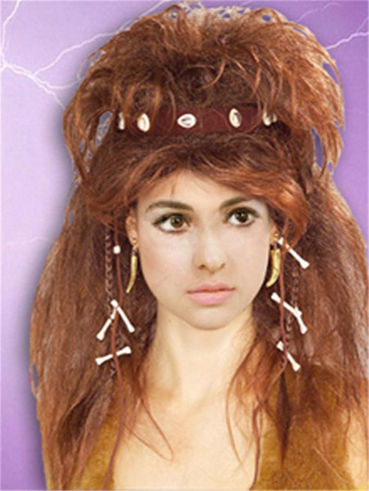 Wholesale Cave Woman Wigs Synthetic Fiber Hair Brown Color High Quality Fashion Costume Wigs Hot Sale