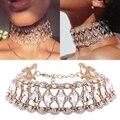 Lujo hollow flor crystal rhinestone choker para mujeres moda oro plata collar de cadena de joyería de la boda para la fiesta #95043